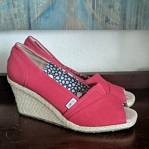 TOMS Peep Toe Red Espadrille Wedges